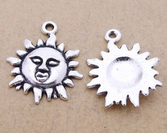 2 Colors available L204 Jewelry Making Findings Vintage Style Sun Pendant Charms 20pcs 33x29mm Sun Pendant Charm DIY Supplies