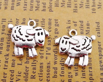 6 Bella baby Sheep charms antique silver tone  P611