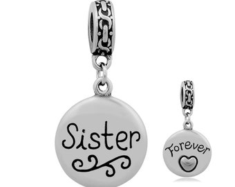 Pendant clasp etsy stainless steel always sister round two sides charm pendant clasp charm dangle charm silver tone 20mm 095 aloadofball Images