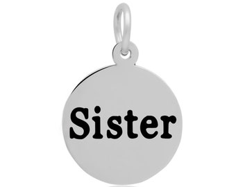 Pendant clasp etsy stainless steel sister charm pendant clasp charm dangle charm antique silver tone 16mm 153 aloadofball Images