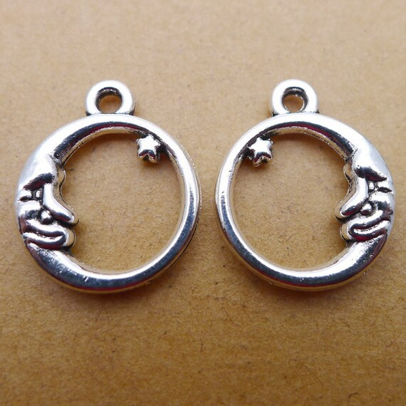 "12 pcs Vintage Silver Alloy Metal Charm /""Miami/"" Engraved Round Shaped Pendant"