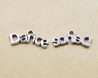 """50PCS or 120PCS, Antique Silver """"Dance"""" Word Charm Pendant, Dancer Charms, Ballet, Jazz, Acro Dance Charms  Pendants - 20mmX7mm, CC352-1123"""