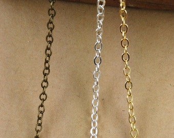SALE !!!  6 Yards  2mm Brass Chain, Antique Bronze/Silver/Gold Color, Vintage Jewelry Sypplies