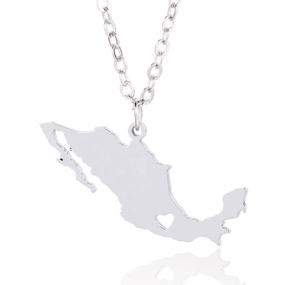 Stainless Steel Black Silver-Tone World Map Charm Pendant Necklace with Chain