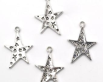 15PCS or 40PCS, Antique Silver Star Charm Pendant, Tibetan Silver Tone, Vintage Jewelry Supply, 18X25mm, JHS305-1880