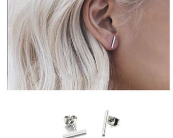 1 Pair/Bulk Stainless Steel Stick Stud Earrings, 10mm Stick Earrings, Ready to Use