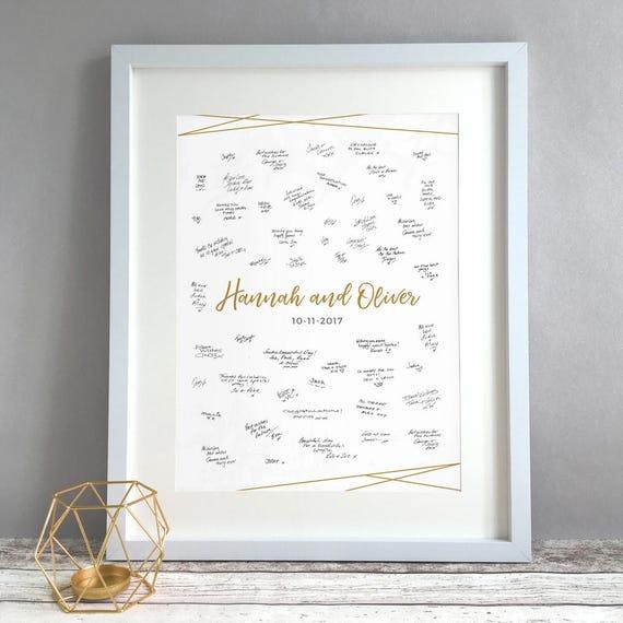 unframed Modern Geometric Marble Wedding Guest Book Alternative Wedding Decor Personalised Print Unique Elegant Simple Wedding Guestbook