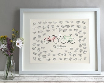 Bike Wedding Guest Book Alternative, Fixed Gear Fixie Unique Wedding Guestbooks Ideas, Bicycle Personalised Print Custom Poster (unframed)