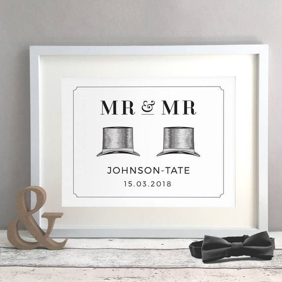 Top Hat Gay Wedding Gift Gay Couple Same Sex Wedding Civil Etsy