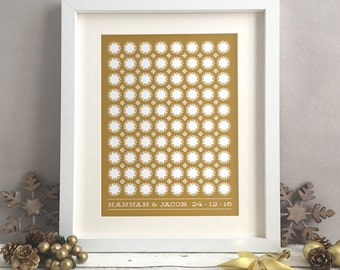 Christmas Winter Wedding Guest Book Alternative, Unique Wedding Guestbooks, Custom Wedding Personalised Print Poster Snowflake (unframed)