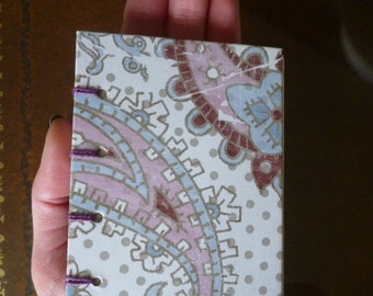 SALE! Pocket notebook, bullet journal, travel journal, hand bound Coptic stitch with paisley print cover, A7