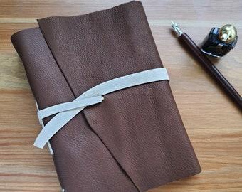 A5 lined journal, brown leather journal, handmade notebook, bullet journal