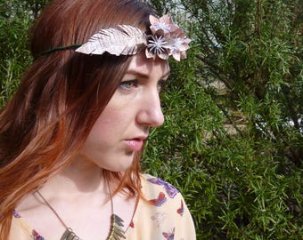 Flower crown, origami headdress, wedding, festival wear, text paper, boho, floral crown, SALE
