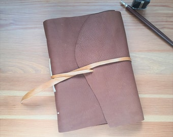 Brown leather journal, A5 handmade leather notebook, upcycled materials, creative journal