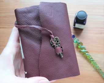 Leather pocket journal, A7 key notebook, upcycled leather