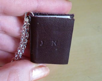 Personalised mini book necklace, brown leather personalized miniature book, notebook necklace
