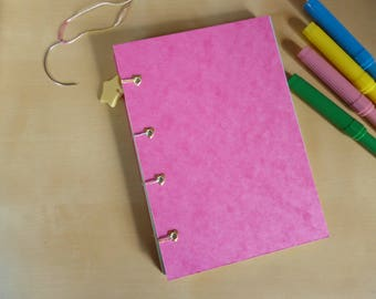 Rainbow bullet journal, A6 super kawaii notebook, journal, with heart eyelets and star charm
