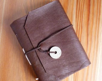 Leather wrap journal, upcycled leather, old coin, brown leather, A6, notebook, bullet journal, leather bound, French coin