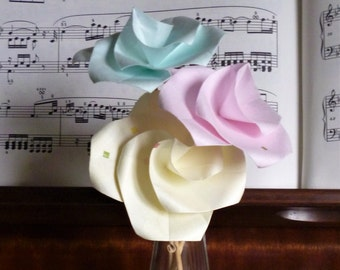 Origami roses, paper roses, 1st wedding anniversary, pastel roses, first anniversary, paper flowers, 1st anniversary