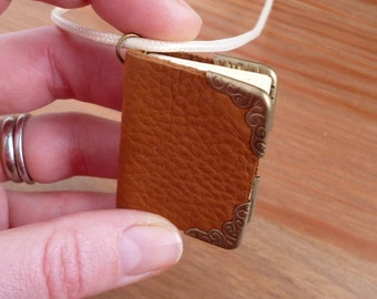 Leather book necklace, book jewellery, handmade mini book, book lovers accessory