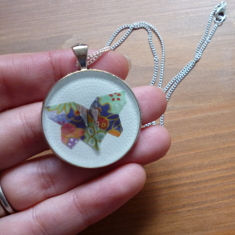Origami butterfly necklace kawaii jewellery miniature paper image 0