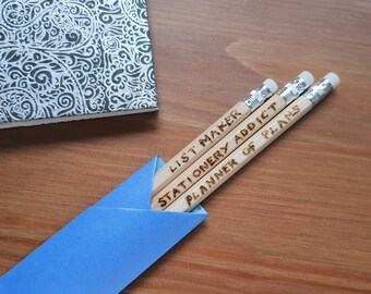 Slogan pencils, wooden pencil set, creative stationery, stationery lovers gift