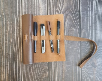 Leather pencil roll, stationery wrap, reused leather, art supply holder, brown leather pencil case