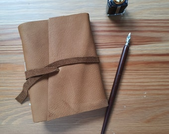 Brown leather journal, A6 handmade leather notebook, upcycled materials, creative journal