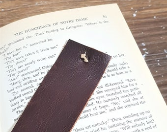 Leather bookmark, upcycled maroon leather, page marker, gift for reader