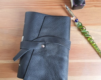 Black leather journal, A6 handmade leather notebook, upcycled materials, creative journal