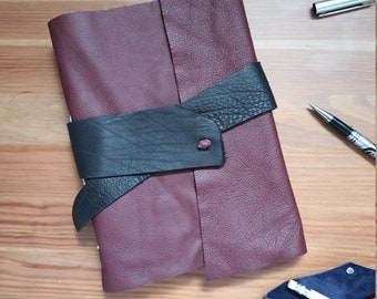 Rustic leather journal, A5 handmade maroon leather notebook, upcycled paper, creative journal
