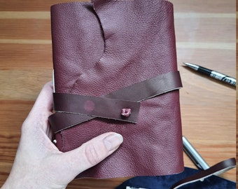 Rustic leather journal, A6 handmade maroon leather notebook, upcycled paper, creative journal