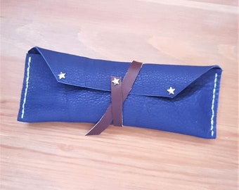 Blue leather pencil case, star detail, soft leather stationery pouch, slim leather pen case