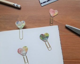 Paper heart planner clips, heart paperclips, diary clips, journal accessories, bujo, vintage pinks