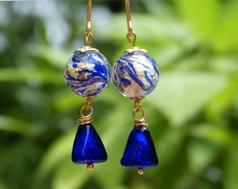 Cobalt blue and gold Murano glass earrings