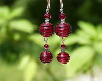 Earrings red Murano glass with black scrolls