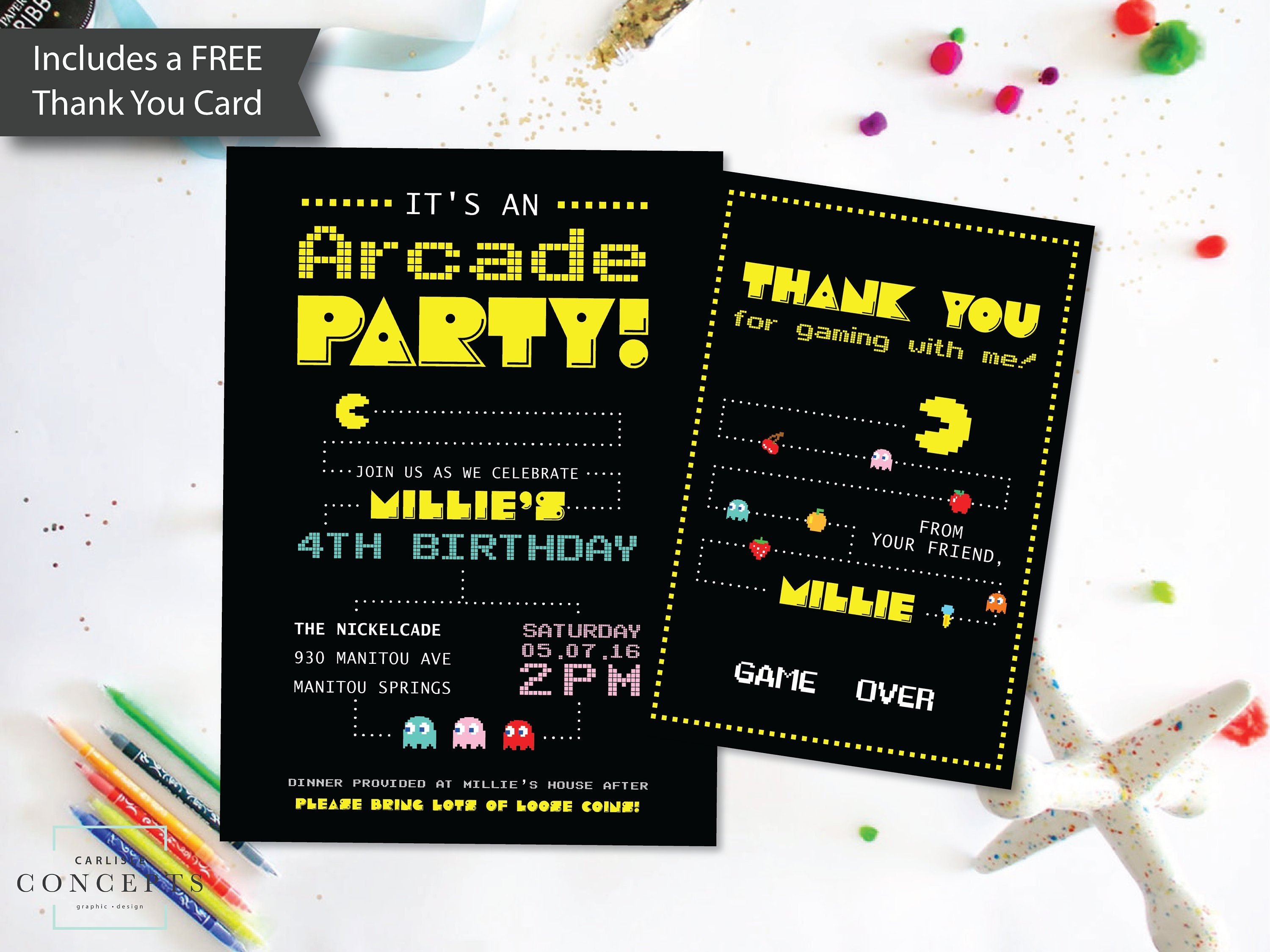 Printable Arcade Birthday Party Invitation And Thank You Card Etsy
