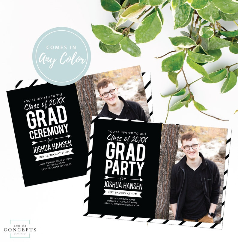 2019 Graduation Party or Ceremony Invitation with Photo | Class of 2018 |  Male or Female Grad Invite | Color Grad Party | Digital Printable