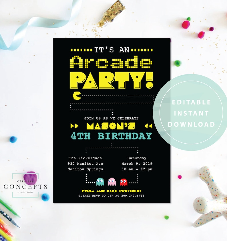 You Edit Yourself Arcade Birthday Party Invitation Pacman Etsy