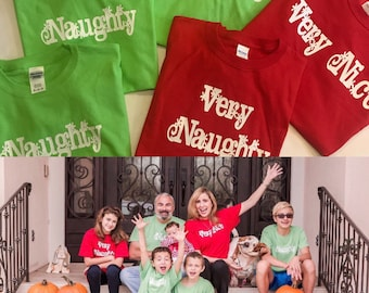 Personalized Holiday Shirts    Family Christmas Shirts    Naughty and Nice Family  matching Shirts b0a1bc799