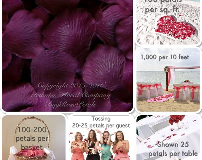 500 Concord Grape Rose Petals - Silk Rose Petals - Artificial Rose Petals