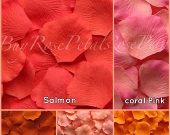 Coral Rose Petals Value Pack -1,000 Silk Rose Petals