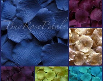 Peacock Color Rose Petals -1,500 Silk Rose Petals