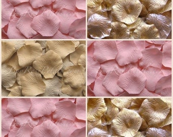 500 Silk Rose Petals - Blush Gold Rose Petal Blend