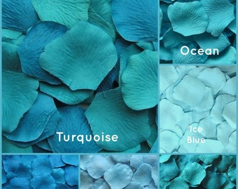 Tropical Blue Rose Petals - 500 Silk Rose Petals, Flower girl Petals