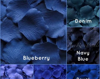 Dark Blue Silk Rose Petals - 1,500 Rose Petals