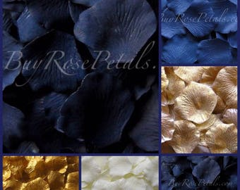 500 Silk Rose Petals Navy Blue Gold Blend