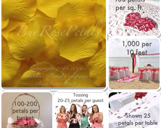 500 Yellow- Artificial Rose Petals for Weddings, Flower Girls & Petal Toss