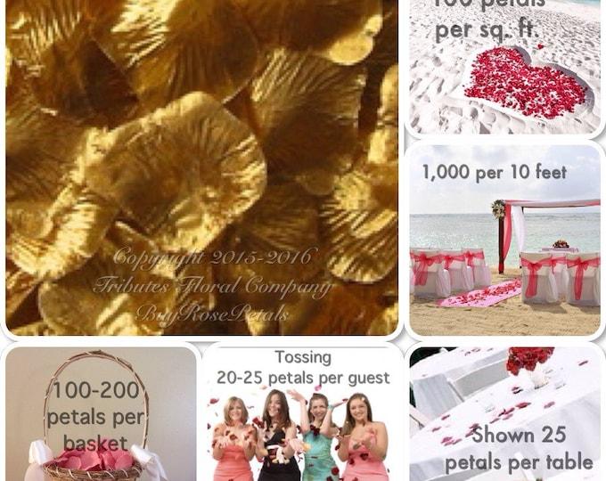 500 Gold Rose Petals - Artificial Rose Petals for Weddings
