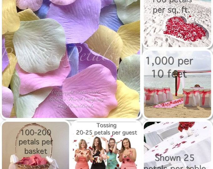 500 Spring Blend Rose Petals - Silk Rose Petals for Weddings